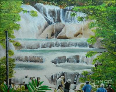 Jamaican Painting - Dunns River Falls II by Kenneth Harris
