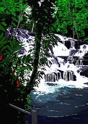Painting - Dunns River Falls Jamaica by MOTORVATE STUDIO Colin Tresadern