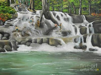 Jamaican Painting - Dunns River Falls by Kenneth Harris