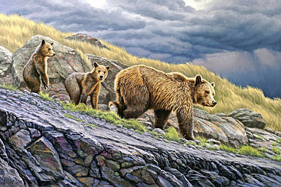 Bear Cub Painting - Dunraven Pass Grizzly Family by Paul Krapf