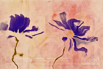Purple Flowers Digital Art - Duo Daisies - 01c2t5bc by Variance Collections