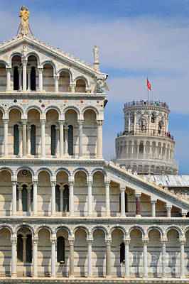 Leaning Building Photograph - Duomo And Campanile by Inge Johnsson