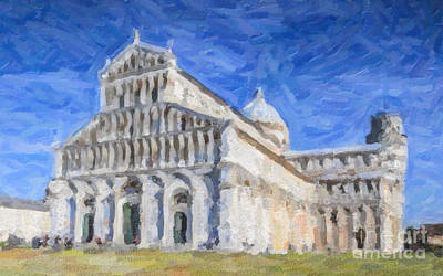 Digital Art - Duomo And Leaning Tower Pisa Italy by Liz Leyden