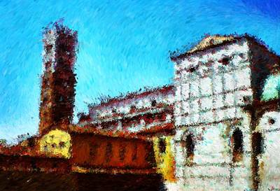 Digital Art - Duomo Di Lucca And It Was Hot Hot Hot_impressionist Digital Painting by Asbjorn Lonvig