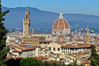 Photograph - Duomo Florence And Palazzo Vecchio by Gary Eason