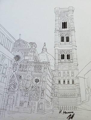 Duomo Florence In Black And White Art Print by Henrieta Maneva