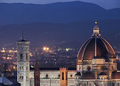 Photograph - Duomo At Night Florence Italy by Sally Ross