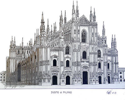 Drawing - Duomo Of Milan by Frederic Kohli