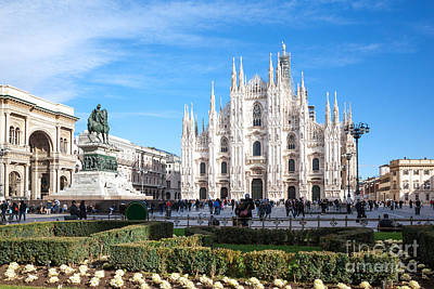 Duomo Square With Famous Cathedral - Milan - Italy Art Print