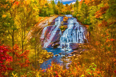 Painting - Dupont Forest High Falls In Autumn by John Haldane