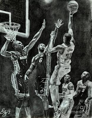 Lebron Drawing - Durant For The Win by Ezra Strayer