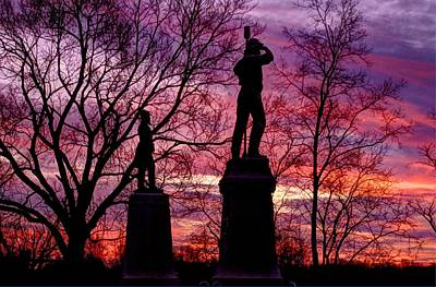Yankee Division Photograph - Durell's Independent Battery D And 48th Pa Volunteer Infantry-a1 Sunset Antietam by Michael Mazaika