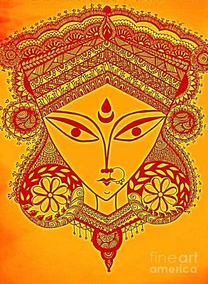 Parvati Drawing - Durga Maa by Sketchii Studio