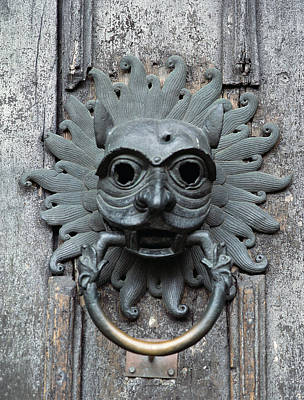 Door Knob Photograph - Durham Cathedral Sanctuary Knocker, Copy Of 12th Century Bronze Original Photo by English School
