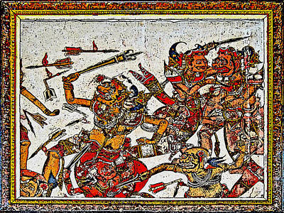 During The Fighting. Ancient Drawing. Bali. Original