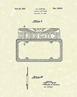 Golden Gate Bridge Drawing - Duryea License Holder 1937 Patent Art by Prior Art Design