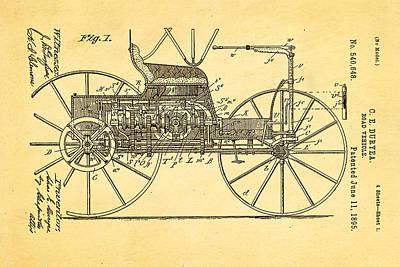 Car Photograph - Duryea Road Vehicle Patent Art 1895 by Ian Monk