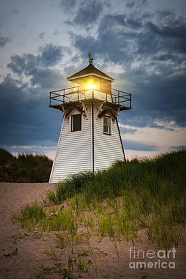 Dusk At Covehead Harbour Lighthouse Art Print by Elena Elisseeva