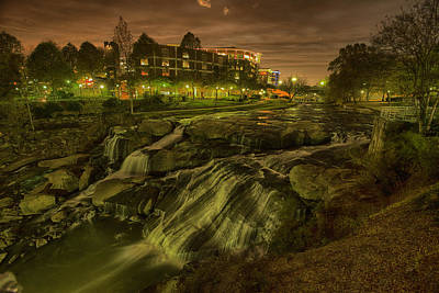Dusk At Falls Park Greenville Sc Art Print by Joel Corley