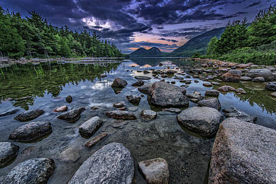 Dusk At Jordan Pond Art Print by Rick Berk