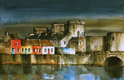Painting - Dusk At King Johns  Limerick by Val Byrne