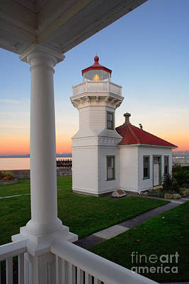 Red Roof Photograph - Dusk At Mukilteo Lighhouse by Inge Johnsson