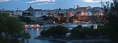 Photograph - Port Mahon Panoramic View With Sailboat - Dusk At Port Mahon by Pedro Cardona