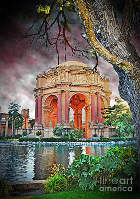 Dusk At The Palace Of Fine Arts In The Marina District Of San Francisco II Altered Version Print by Jim Fitzpatrick