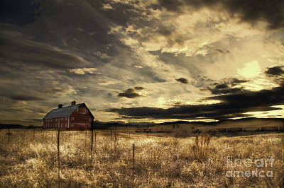 Dusk At The Red Barn Art Print by Kristal Kraft
