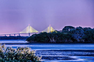 Dusk At The Skyway Bridge Art Print