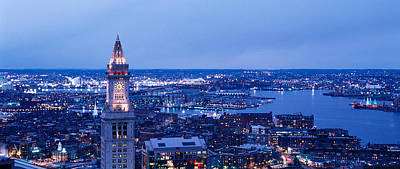 Boston Ma Photograph - Dusk Boston Massachusetts Usa by Panoramic Images