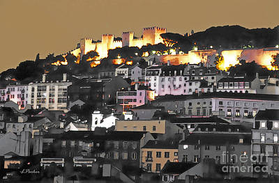 Port Town Digital Art - Dusk Falls On St. George Castle Lisbon by Linda  Parker