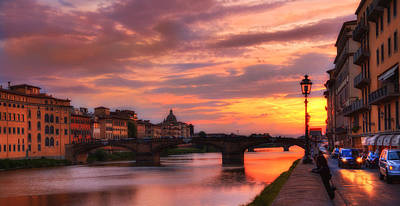 Photograph - Dusk Florence Italy by Bob Coates