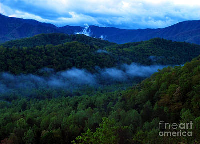 Dusk In The Smoky Mountains   Art Print by Nancy Mueller