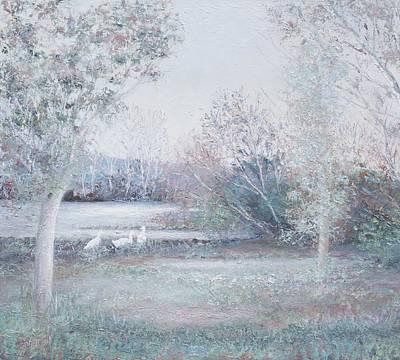 Creek Oil Painting - Dusk by Jan Matson