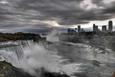 Dusk Misty Autumn At Niagara Falls V1 Art Print