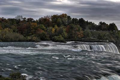 Dusk Misty Autumn At Niagara Falls V6 Art Print by Michael Frank Jr