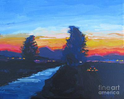 Port City Of Stockton Painting - Dusk Moment by Vanessa Hadady BFA MA