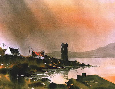 Mayo Painting - Dusk On Achill  Mayo by Val Byrne