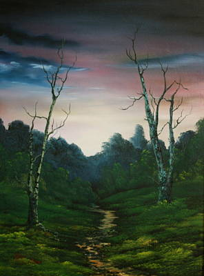 Nightjars Painting - Dusk On Cannock Chase by Jean Walker