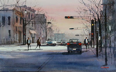 Dusk On Main Street - Fond Du Lac Art Print