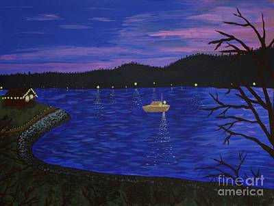 Dusk On Puget Sound Art Print by Vicki Maheu