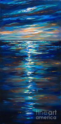 Dusk On The Ocean Art Print by Linda Olsen