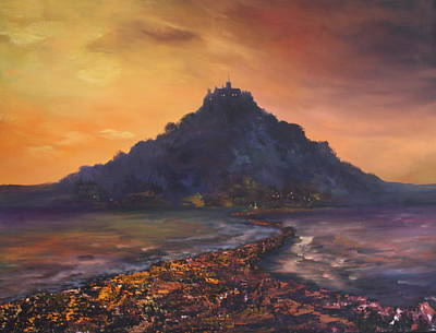 Art Print featuring the painting Dusk Over St Michaels Mount Cornwall by Jean Walker