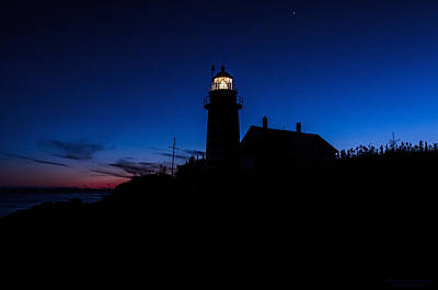 Dusk Silhouette At West Quoddy Head Lighthouse Art Print by Marty Saccone