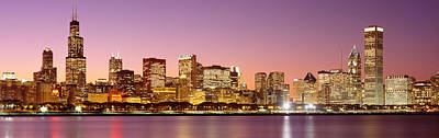 Chicago Il Photograph - Dusk Skyline Chicago Il Usa by Panoramic Images