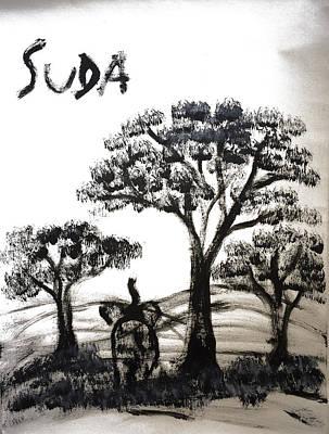 Prints - Elephant Paintings - Dusk Version 2 Art Print by Phongsri Smeaton