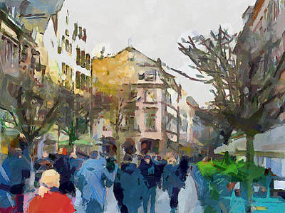 Dusseldorf Old Town Street 4 Art Print by Yury Malkov