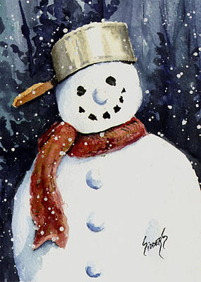 Painting - Dustie's Snowman by Sam Sidders