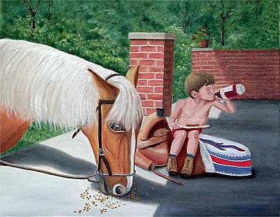 Art Print featuring the painting Dustin And Koti by Fran Brooks
